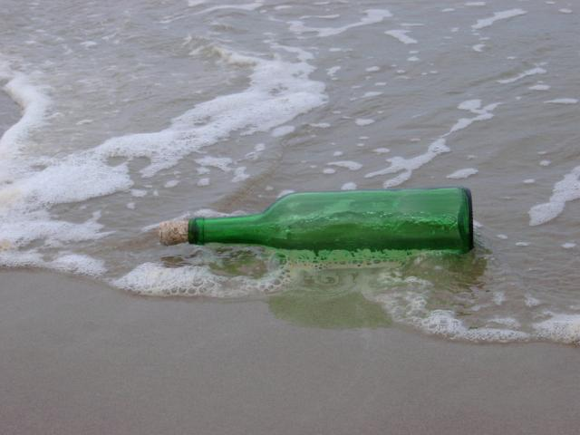 Discarded bottle at the seaside